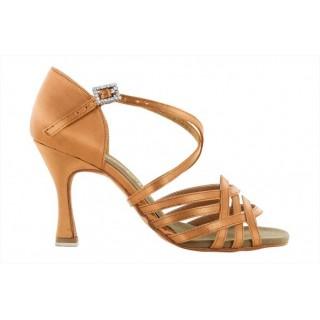Lys brun satengsko med flettede bånd, 8 cm hæl, ekstra fleksibel såle