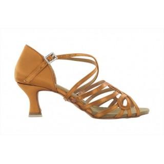Lys brun satengsko med dekorative og elastiske bånd, 5.5 cm hæl
