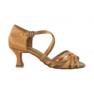 Lys brun satengsko med 5 bånd foran, 5.5 cm hæl