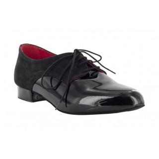 Elegant sort dansesko for herre, lakk og skinn, 2.5 cm hæl