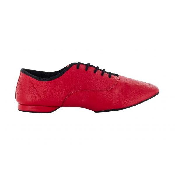 Rød jazzsko i mykt skinn med delt DRS såle, 1 cm hæl, meget fleksibel.