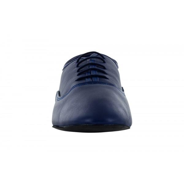 Blå jazzsko i mykt skinn med delt DRS såle, 1 cm hæl, meget fleksibel.