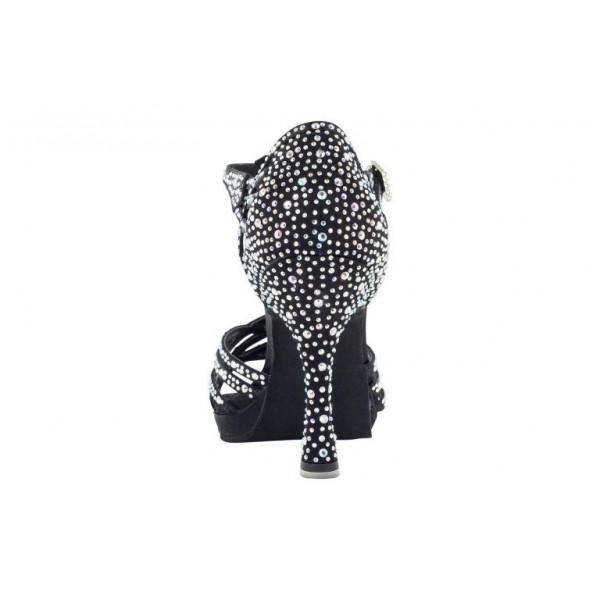Platåsko med 10 cm høy hæl og krystaller, sort