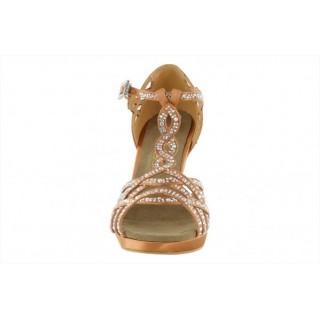 Platåsko med 10 cm høy hæl, med krystaller, lys brun
