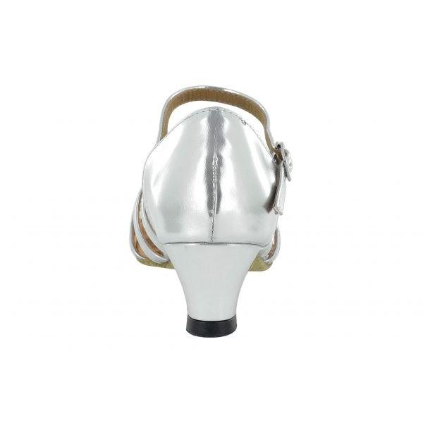 Sølvfarget dansesko med 3.5 cm hæl, fra nr. 29 til 40