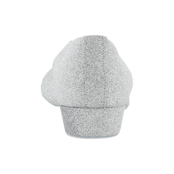 Sølvfarget øvesko i tekstil, 2.5 cm hæl, lukket foran