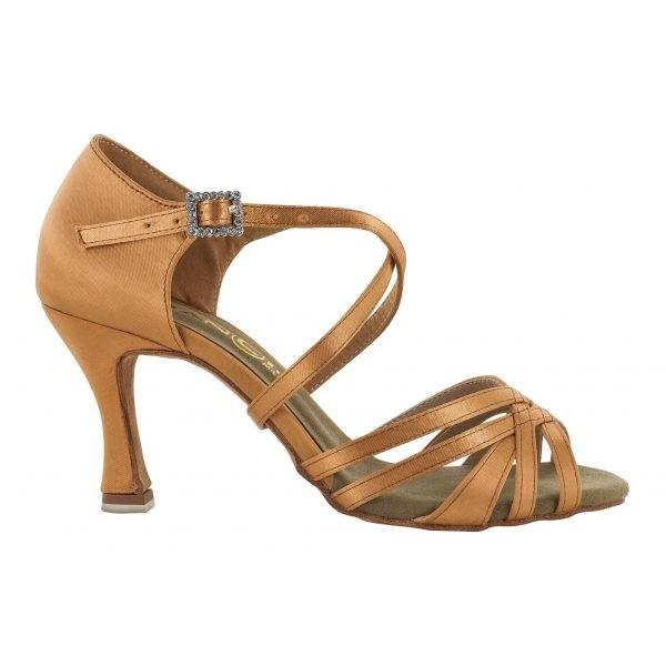 Lys brun satengsko, 7,5 cm hæl, 5 bånd foran