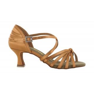 Lys brun satengsko med knute foran, 5.5 cm hæl, fleksibel såle
