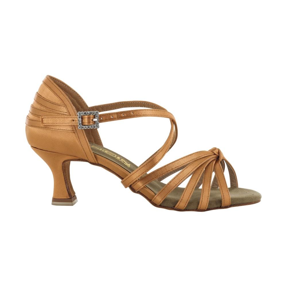 Lys brun satengsko med flettede bånd, 5.5 cm hæl, fleksibel såle