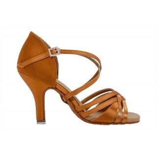 Lys brun satengsko med 5 bånd, 8,5 cm hæl, ekstra fleksibel såle