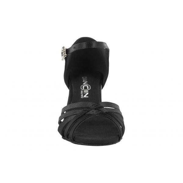 Sort satengsko med 5 bånd foran, 5.5 cm hæl, fleksibel såle, 35, 36, 40, 41