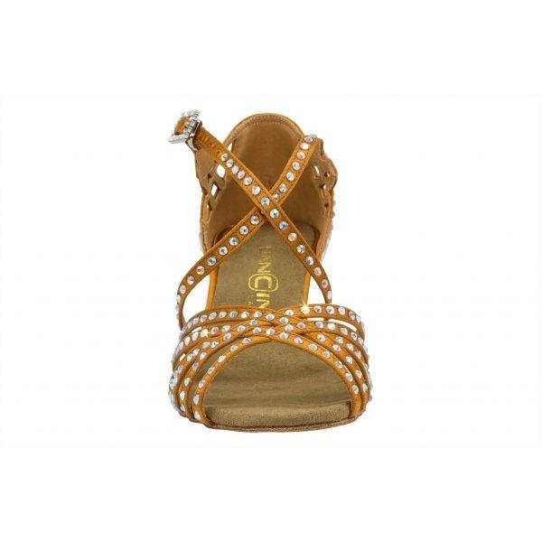 Lys brun satengsko med krystaller, 5.5 cm hæl