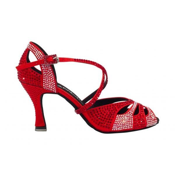 Rød dansesko med 7,5 cm hæl, krystaller, delvis åpen foran, tilbud 34 & 36
