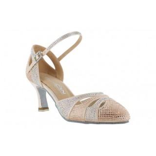 Lys rosa sko i sateng med krystaller, lukket foran, 5,5 cm hæl, tilbud