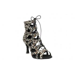 Dansestøvlett i sateng med leopardmønster, 7.5 cm høy hæl, 50% rabatt
