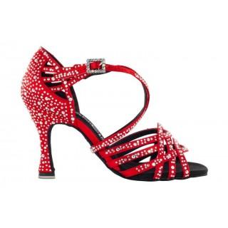 Rød satengsko med krystaller, 8 cm hæl