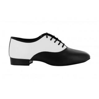 Sort/hvit dansesko for herre i skinn, 2.5 cm hæl, 39, 41 og 44, tilbud