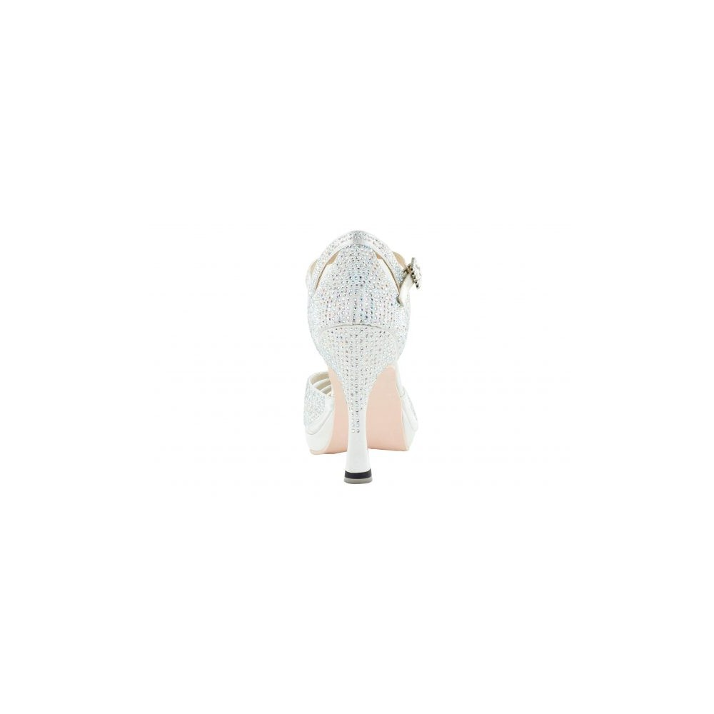 Platåsko med 10 cm høy hæl og krystaller, hvit